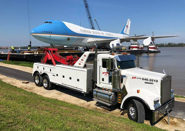 Tow Truck and Large Airplane